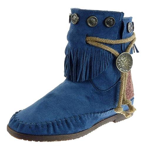 f0cd4c030 Angkorly - Zapatillas Moda Botines Botas Mocasines Mujer Fleco Tanga  metálico Tacón Ancho 1.5 CM  Amazon.es  Zapatos y complementos