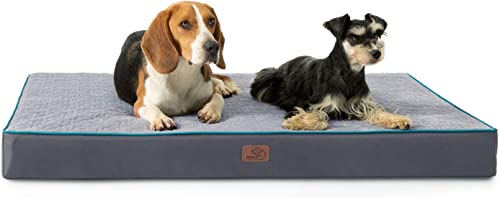 Bedsure Orthopedic Memory Foam Dog Bed for Large Dogs up to 75 100lbs, 3.5-4 inches Thick Pet Bed Mattress with Removable Washable Cover, 2-Layer Pet Mat with Waterproof Lining Dog beds, Grey