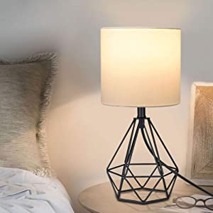 Depuley Modern Black Table lamp for Living Room, Metal Desk Lamp with Hollowed Out Base, 5W Bedside Nightstand Lamps with Fabric Shade for Bedroom, Office (E26 Bulb Incl.)
