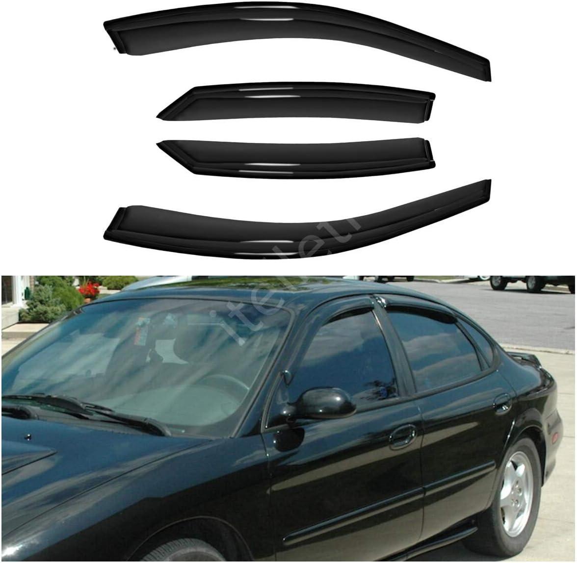 itelleti 4pcs Outside Mount Dark Smoke Sun//Rain Guard Front+Rear Tape-On Auto Window Visors For 96-07 Ford Taurus 4-Door Sedan