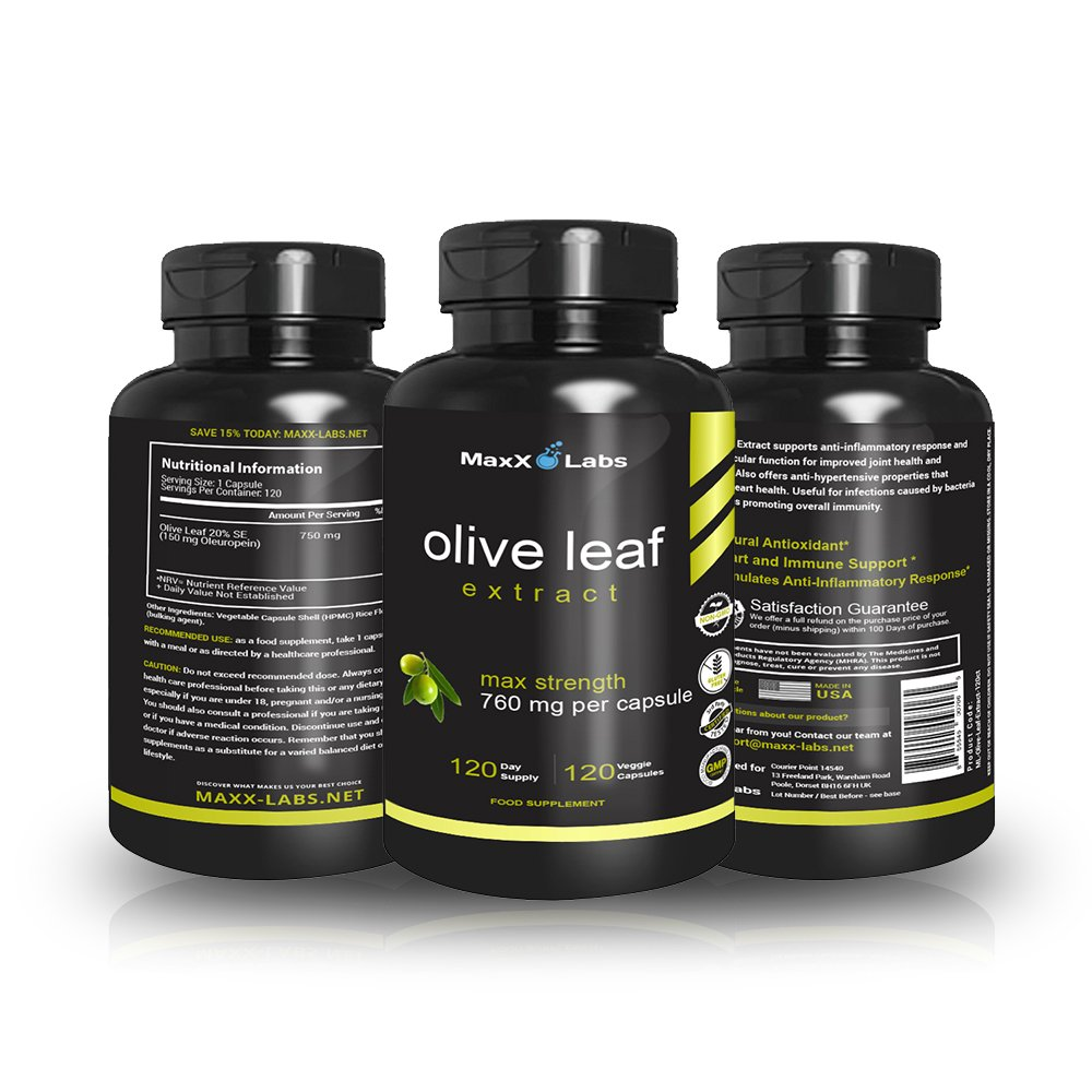 Best Olive Leaf Extract 750mg/120 Capsules - Super Strength Oleuropein  Nature's Way to Support Immune System, Blood Pressure & Cardiovascular  Health -