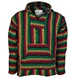Baja Joe Striped Woven Eco-Friendly Jacket Coat Hoodie (Rasta, Large)
