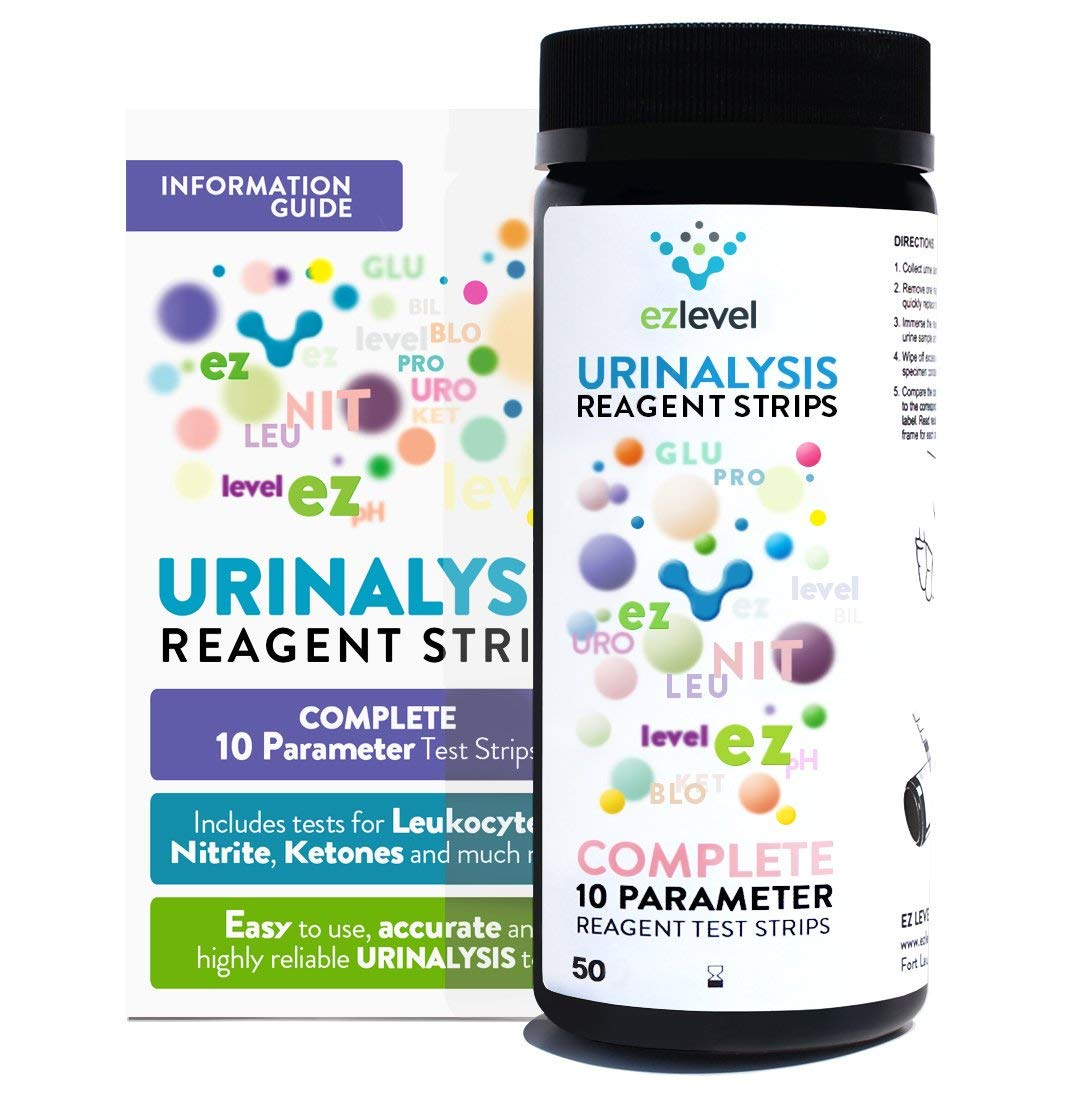 EZ Level 50 Urinary Tract Infection UTI Test Strips 10 Parameter Leukocytes Nitrite And More (50 Count) by EZ Level