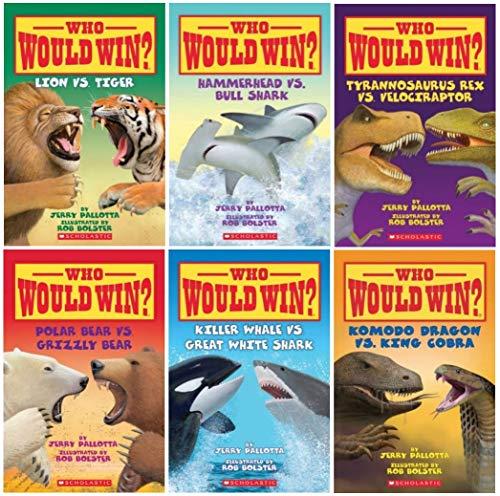 Who Would Win? Showdown (#2) 6 Book Set: Rhino vs Hippo, Polar Bear vs Grizzly Bear, Lion vs Tiger, Tyrannosaurus Rex vs Velociraptor, Killer Whale vs Great White Shark, Hammerhead Shark vs Bull Shark with Temporary Tattoos!
