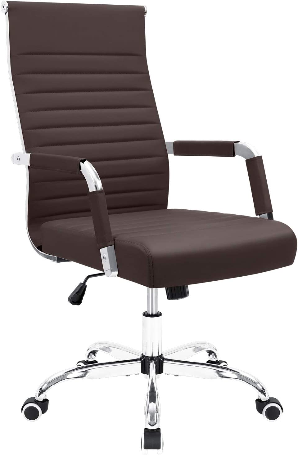 Furmax Ribbed Office Desk Chair Mid-Back PU Leather Executive Conference Task Chair Adjustable Swivel Chair with Arms (Brown)