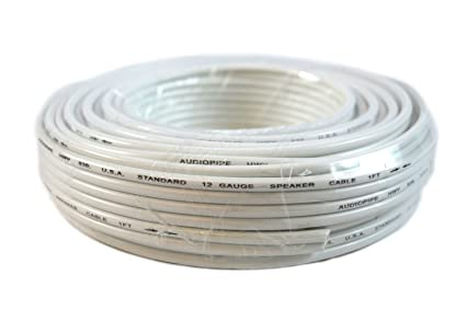 12 Gauge 50 Feet White Stranded 2 Conductor Speaker Wire Car Home Audio Stereo
