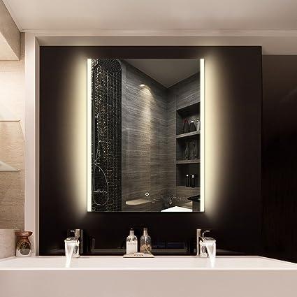 24u0026quot; X 32u0026quot; Bathroom Wall Mirror LED Wall Mounted Lighted Vanity  Bathroom Slivered Mirror
