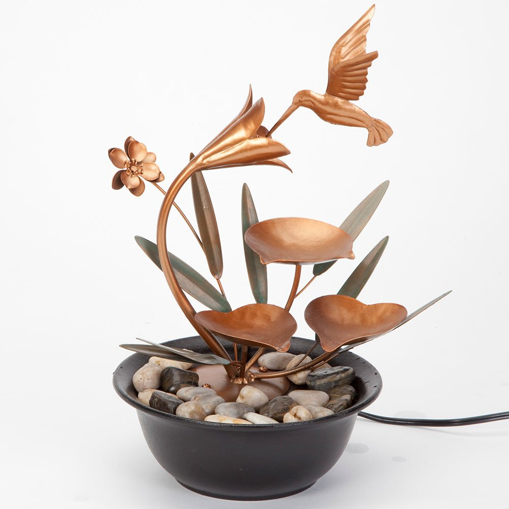 Bits and Pieces - Indoor Hummingbird Lily Fountain - Zen Tabletop Water Fountain by Bits and Pieces (Image #4)