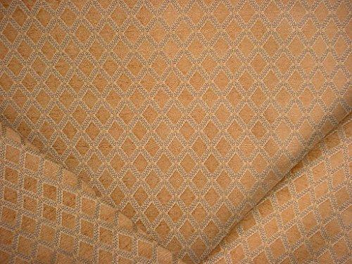 - 339H10 - Butterscotch / Bronze / Light Taupe Diamond Trellis / Lattice Chenille Geometric Designer Upholstery Drapery Fabric By The Yard