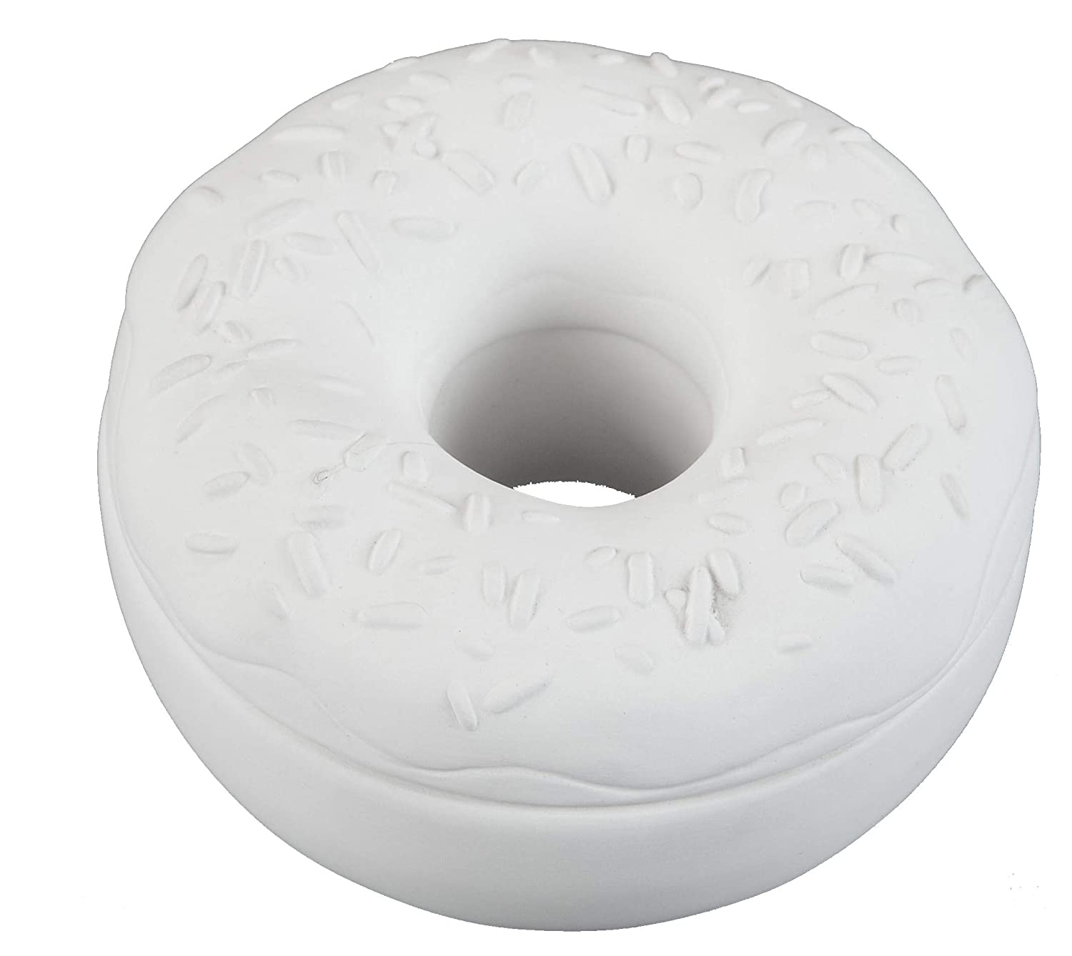 Case of 6 Creative Hobbies Donut Box with Sprinkles with How to Paint Your Own Pottery Booklet Unfinished Ceramic Bisque 4.25 inch Round