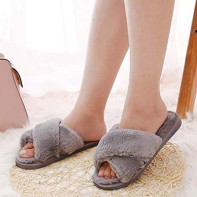Modaworld Donna Ciabatte Pelliccia Slippers Sandali con Punta Aperta Pantofole Pelose Diapositive Fluffy Infradito Pantofole da Donna Invernali