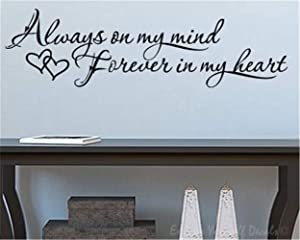 Wall Decal Room Wall Stickers Quotes Art Decor Always On My Mind Forever in My Heart for Living Room Bedroom