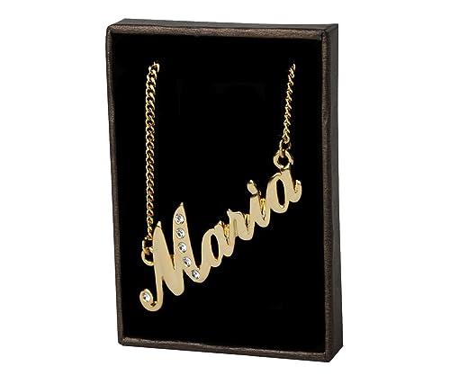 22e5e5f1e1326 Zacria Name Necklace Maria 18K Gold Plated