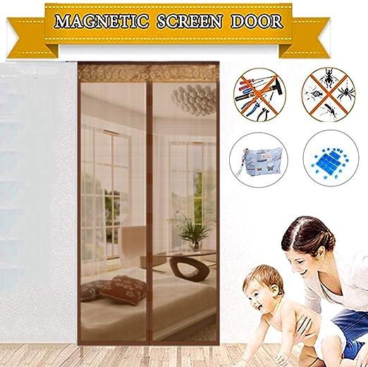 TYP Mall Mosquitera Magnética para Puertas Cortina De Malla Encriptada Puerta Automática/Balcón/Dormitorio No Requiere Perforación,Brown,80x200cm: Amazon.es: Hogar