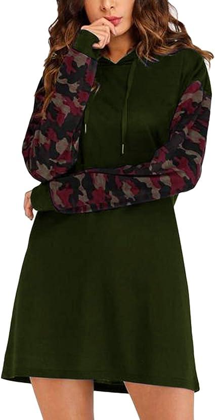 UK Womens Hooded Dress Top Ladies Hoodies Autumn Knee  Sweater Jumper Sweatshirt