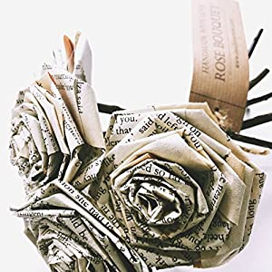 Book Paper Rose Bouquet Novel Flowers Literary Vintage Home Décor Christmas Anniversary Valentine's Day Gift For Wife Fiancée Book Lover Wedding Paper Flower Bouquets Handmade (Bunch of 5-6) 26