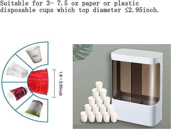 para Vasos de pl/ástico o Papel M montado en la Pared HKeeper Dispensador de Vasos Desechables