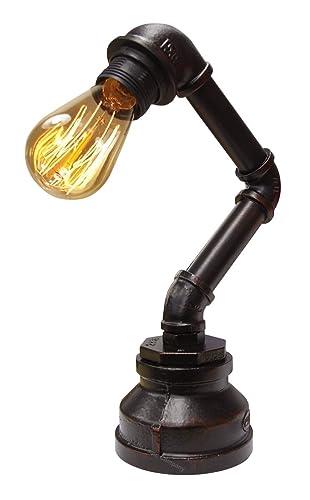 Vintage Industrial Steampunk Table Lamp Rustic Copper Water Pipe Bedside Desk  Lamp T1003