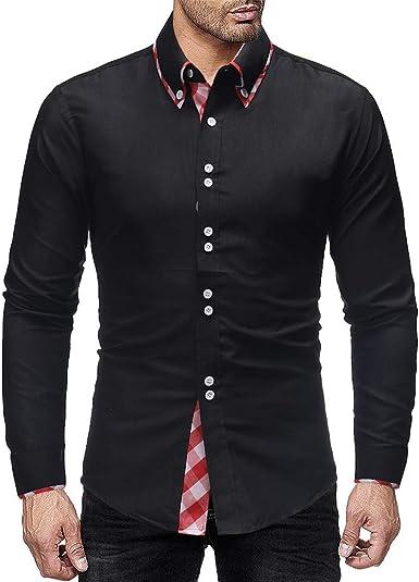 New Fashion Mens Long Sleeve Slim Fit Casual Shirts Plaid Dress T-Shirt Tops Tee