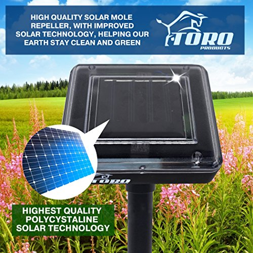 Toro Products Mole Repellent 4 pack Solar Powered for Lawn Garden Yard Outdoor Pest Control Rodent Repellent Ultrasonic Pest Repeller Gopher Repeller Vole Chaser Pest Deterrent