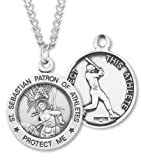 Amazon Price History for:Men's Sterling Silver Round Saint Sebastian Baseball Medal + 24 Inch Endless Rhodium Plated Chain