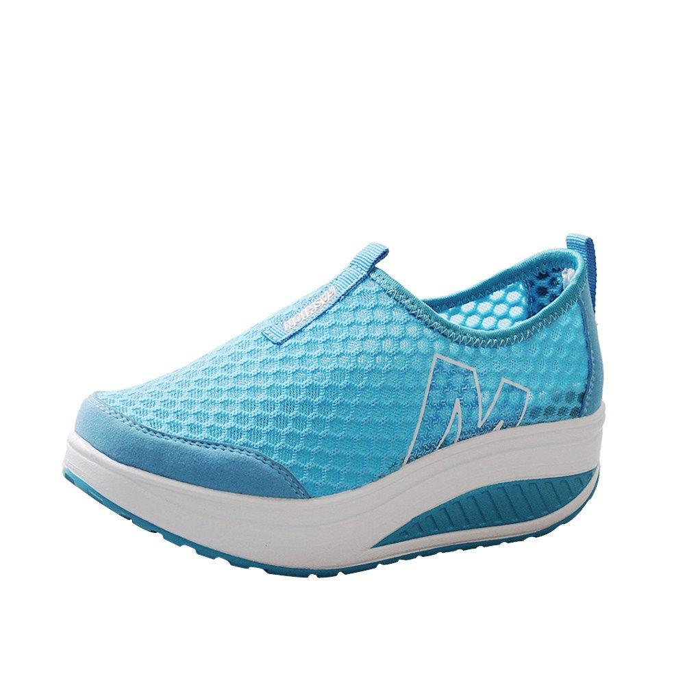 Hunzed Women【Platform Mesh Shoes】 Ladies Toning Rocker Shoes Mesh Slip On Wedges Platform Walking