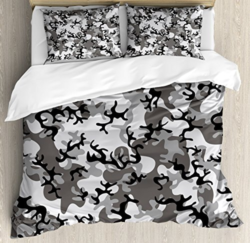 Cover Set Queen Size, Camouflage Concept Concealment Artifice Hiding Force Uniform Pattern Fashion, Decorative 3 Piece Bedding Set with 2 Pillow Shams, Black Grey Silver ()