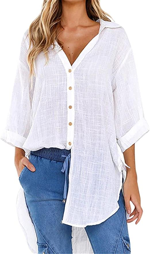 VJGOAL Womens Loose botón de la Manera Clásico Salvaje Solapa con Cuello en v Camisa Larga Algodón Damas Casual Color sólido Tops Camiseta Blusa