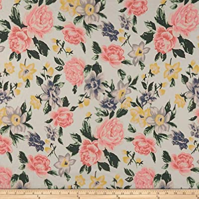 5a28f76ab95 Amazon.com: Fabric Cotton Linen Floral Fabric, Coral/Light Blue, Fabric By  The Yard