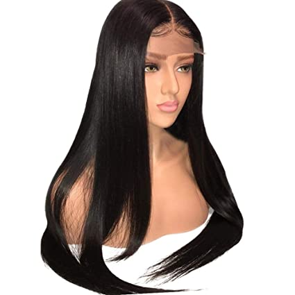 "Ugeat 22"" 190g Pelucas Virgin Human Hair Lace Full Natural Black Recto Liso Full Lace"
