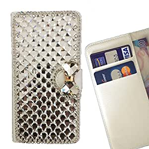 - Clear Bow Bownot/ Slot Card Flip Case Cover Skin Bling Rhinestone Crystal Leather - Cao - For Samsung GALAXY J1/J100