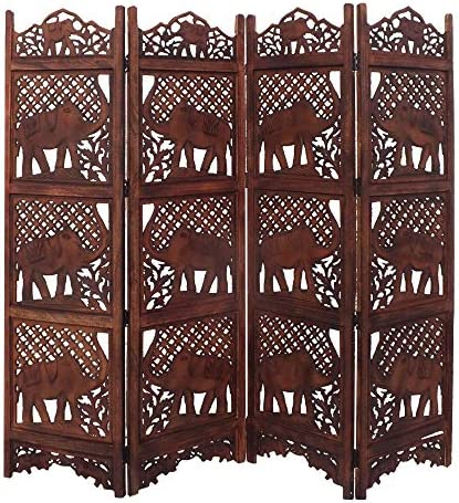 Benzara BM34823 Hand Carved Elephant Design Foldable 4-Panel Wooden Partition Screen Room Divider, Brown