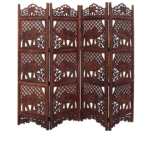 - Benzara Wooden Room Divider Carved With Elephant Screen, Brown