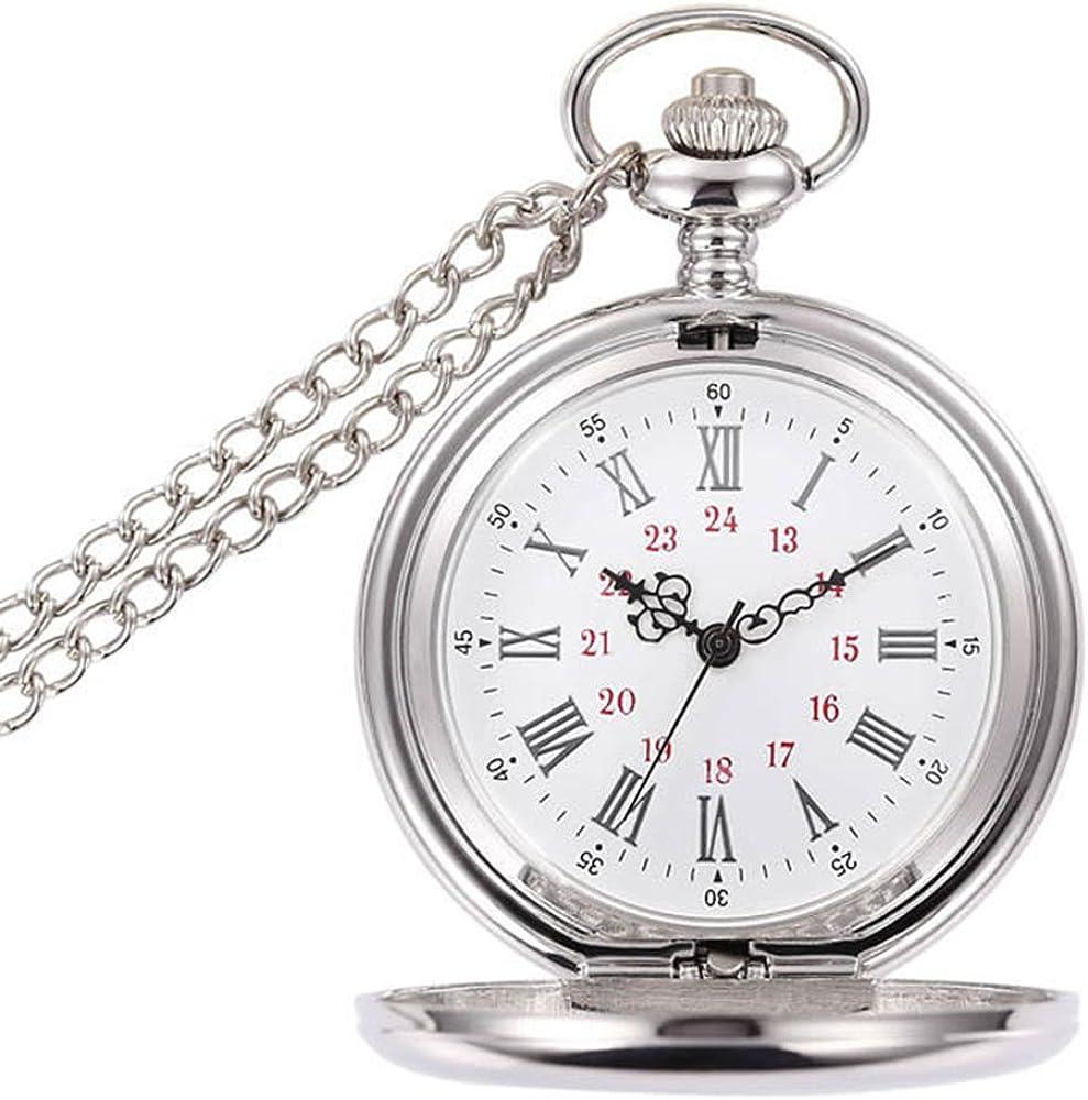 BestFire - Reloj de bolsillo de cuarzo, clásico y vintage con cadena corta para hombre y mujer–Incluye caja de regalo