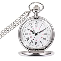 Powshop Classic Smooth Vintage Pocket Watch, Steel Men Pocket Watch with 14''Chain, Gift Box