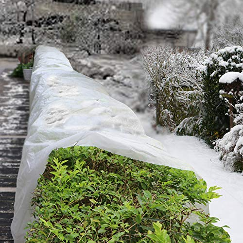 Shen H Y Premium Plant Covers Freeze Protection Reusable Plant Blanket Fabric 8.2Ft x 24.6Ft Rectangle Plant Cover for Cold Weather Snow Animal Frost Protection -0.9 oz/yd²(1pack)