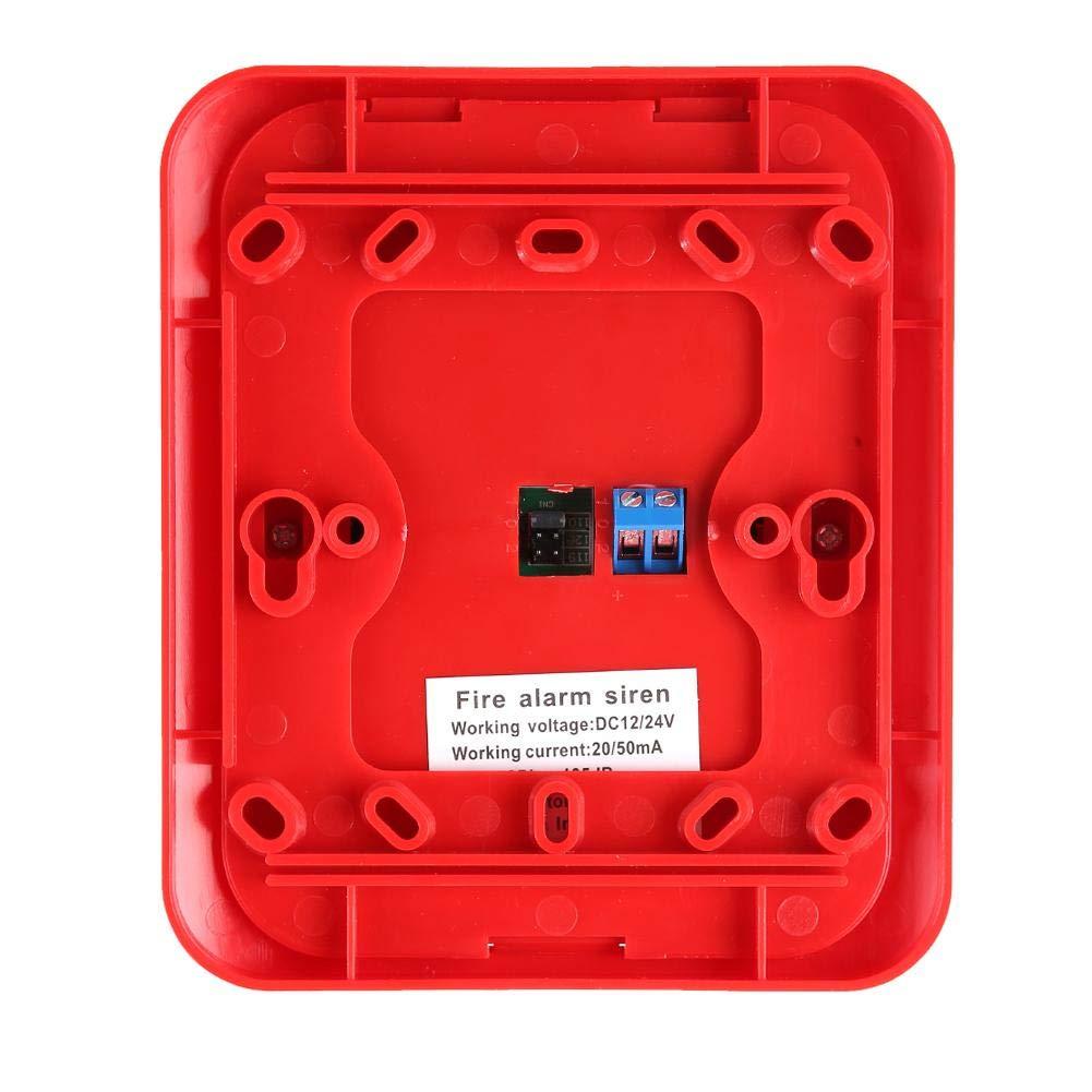 Luce a 6 LED Sistema di Sicurezza con Allarme Sirena Stroboscopica di Avviso DC12V//24V Allarme di Protezione Antincendio Sonoro e Luminoso Sirena Cicalino Allarme Audio 105DB