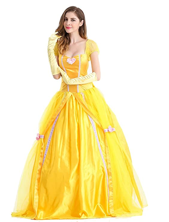 Beautiful Women and The Beast Costume Cosplay Belle Princess Long Dress With pannier (Large)