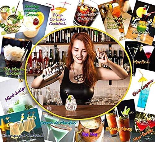The Wolf Moon Cocktail-Set für Zuhause, 12-teilig, Schüttelbecher, Barmaß, gedrehter Barlöffel, Stößel, Mixer, Flaschenausgießer, Eissieb und Eiszange.