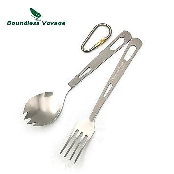 Boundless Voyage camping Cubiertos Set Titan essstabchen, cuchillo loffel hostelería y tenedor, Unisex,