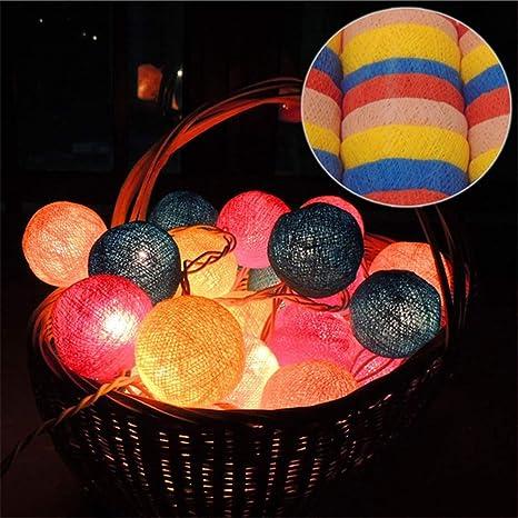 Luces de hadas de bolas de lana, LED de luz de bola de algodón ...