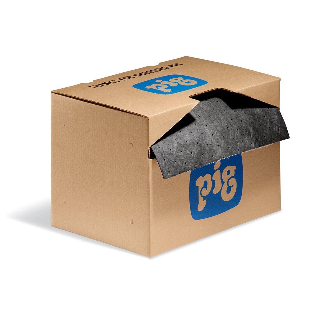 "New Pig Absorbent Mat Roll in Dispenser Box, Lightweight, 9 Gal Absorbency, Absorbs Oils, Coolants, Solvents & Water, 150' L x 15"" W, Gray, MAT141"