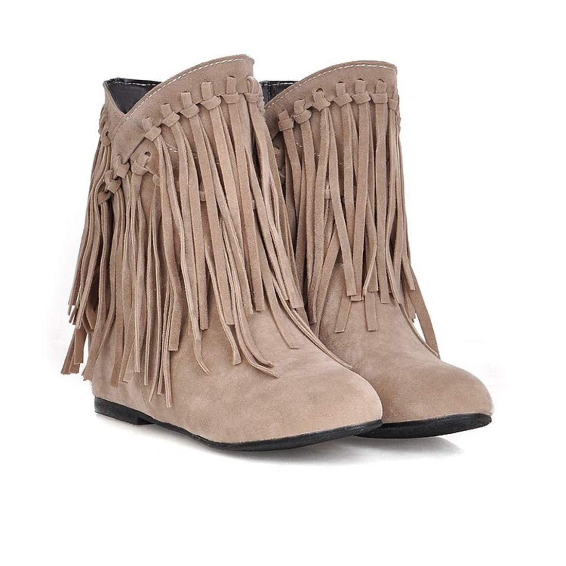 DANDANJIE Damenschuhe Knöchelstiefel Fallen Winter Stiefelie Tassel Flache Ferse Runde Zehen-Stiefelies