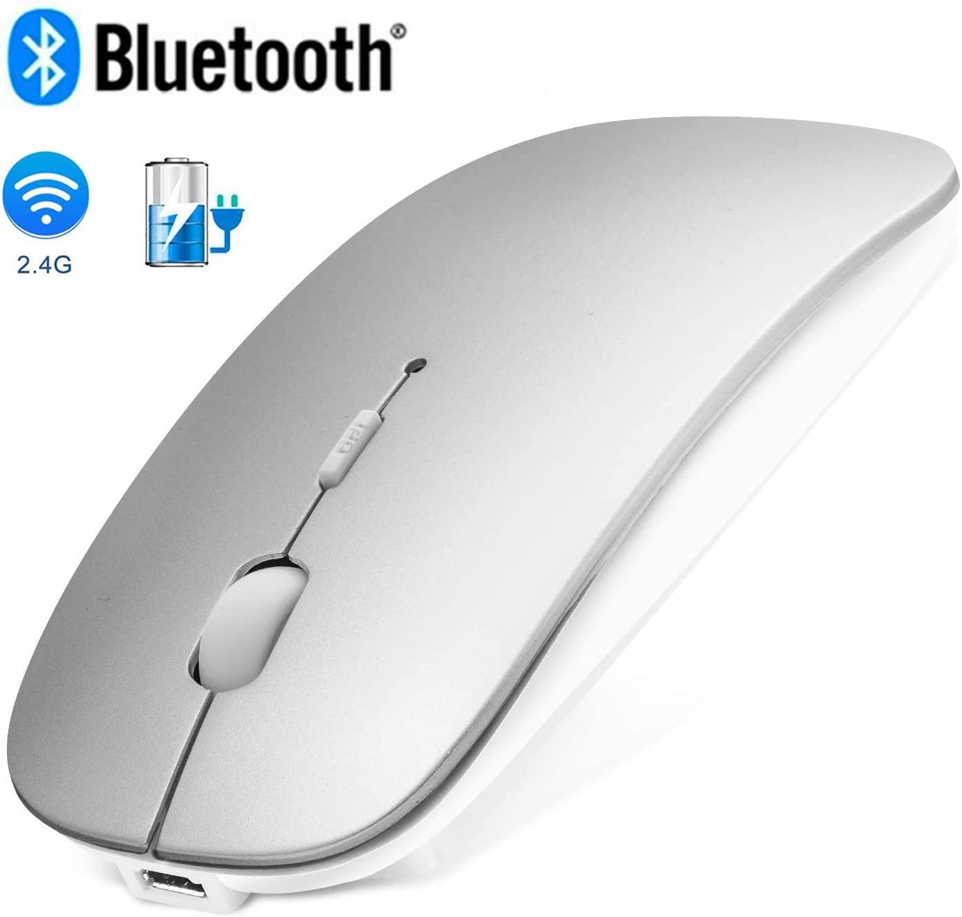 Bluetooth Wireless Mouse for Mac/iPad OS 13/MacBook pro/Desktop/Laptop,Wireless Mouse for MacBook Air/Windows Linux/Notebook 2.4GHz Rechargeable Dual Mode Slim Wireless Mouse Silent USB Mice