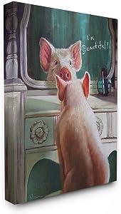 Stupell Industries I'm Beautiful Painted Pig in Mirror Illustration Canvas Wall Art, 16 x 20, Design by Artist Lucia Heffernan