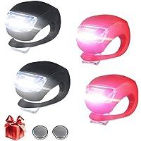 Nasharia Fahrradlicht LED Set Silikon Leuchte Fahrradlampe, 4 Pack Fahrradbeleuchtung (2 Frontlichter & 2 Rücklichter), Kinderwagen-Beleuchtung Wasserdichte Roller-Blinklicht Kinder Laufrad Lampen