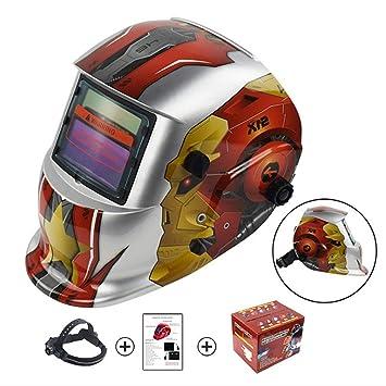 Casco soldador Silver Star Robot Design Solar Powered Helmet Casco Oscurecimiento automático Campana profesional con lente