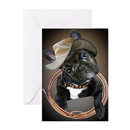 8abe3da5c09 Amazon.com   CafePress - French Bulldog Black Western 1 Greeting Cards -  Greeting Card