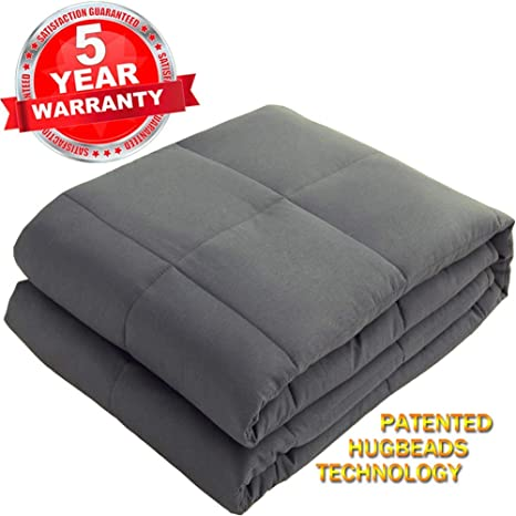 AiAngu Weighted Blanket(5 lbs for Kids, 36x48), 100% Cotton Material with Glass Beads Heavy Bed Blanket Dark Grey