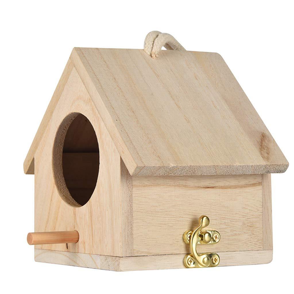 Bird House DFVVR DIY Nest Box Nest House Bird Box,Ideal for Finch /& Canary Wooden House Resting Place for Birds Outdoor Wooden Box House for Bird